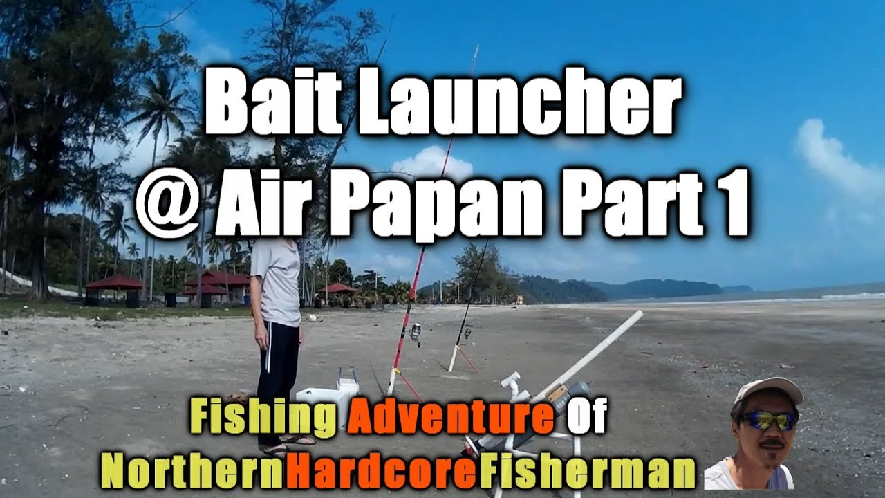 Fishing with homemade bait launcher at air papan beach for Fishing bait launcher